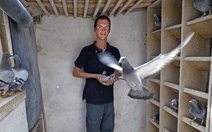 Maxime Renaud, de 26 años de edad, se para en la cooperativa donde cría palomas en Erre, en el norte de Frence, el 18 de junio de 2019.
