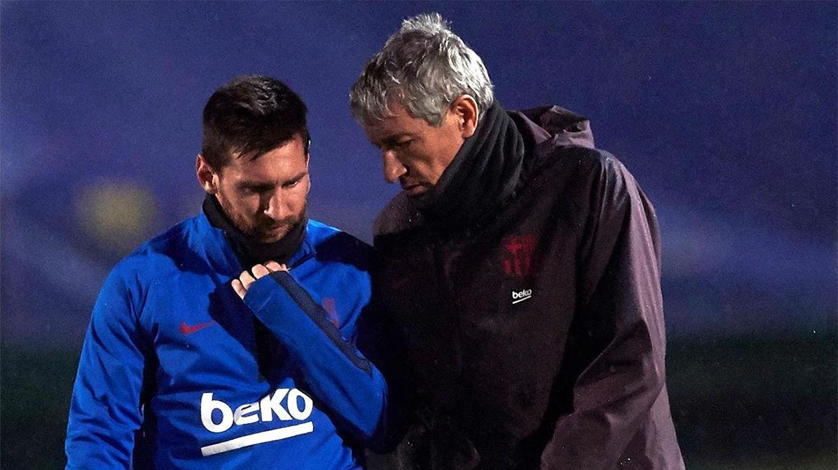 Setién: Messi está perfectamente y no va a tener ningún problema
