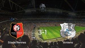 El Stade Rennessuma tres puntos más frente al Amiens SC (3-1)