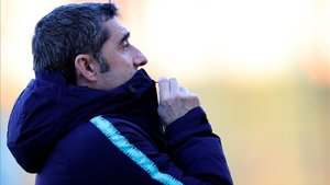 Valverde, en el entrenamiento previo al Lyon - Barça