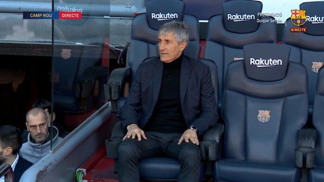 Setién en el banquillo del Camp Nou