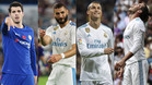 Álvaro Morata (Chelsea), Karim Benzema, Cristiano Ronaldo y Gareth Bale (Real Madrid)