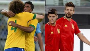 David Luiz y Paulinho durante un partidod e Brasil y Piqué y Morata en un entrenamiento de España
