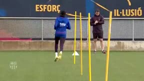 Dembélé entrena en solitario y ya pisa el césped de la Ciudad Deportiva