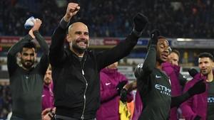 Guardiola celebra exultante la victoria del City