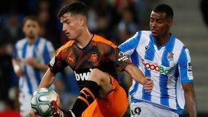 Hugo Guillamón se estrenó en Primera División en el Reale Arena ante la Real Sociedad