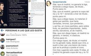 En la izquierda, la fotografía, junto al me gusta de Casillas; en la derecha el texto