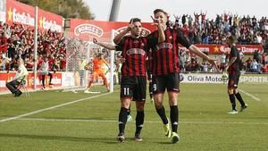 Los jugadores del Reus celebran un gol en una foto de archivo
