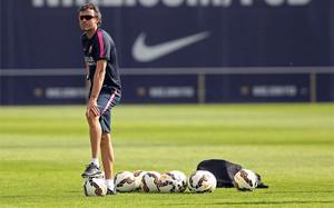Luis Enrique, en un entrenamiento con el primer equipo del Barça