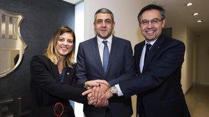 Marta Plana, Zurab Pololikashvili y Josep Maria Bartomeu