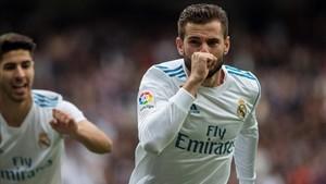 Nacho celebró el gol con el que el Madrid abrió el marcador