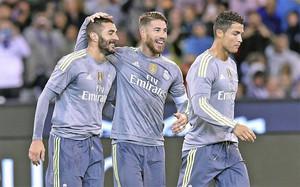 El Real Madrid celebra un gol ante el Manchester City