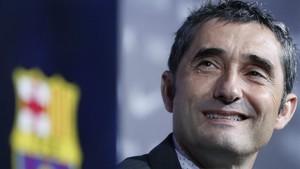 Valverde, durante su presentación con el Barça