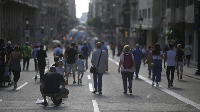 La Via Laietana de Barcelona, durante el Día sin coches