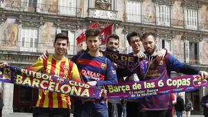 Aficionados del Barça en la Plaza Mayor de Madrid, en una foto de archivo