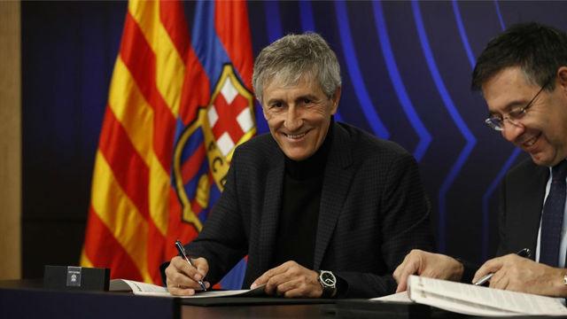 Así fue la presentación de Quique Setién como entrenador del FC Barcelona