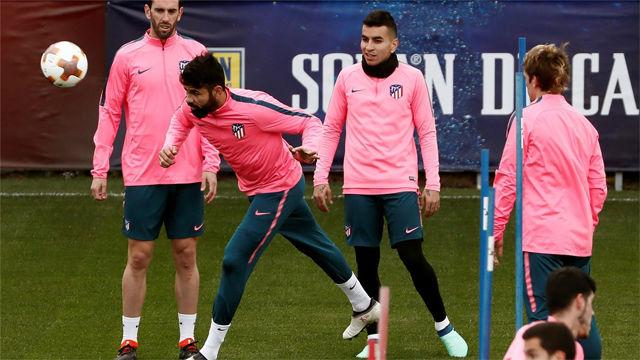 El Atlético de Madrid entrena pensando en el Sporting CP