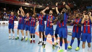 El Barça, en el Palau tras acceder a la Final Four en 2017 ante el Kiel