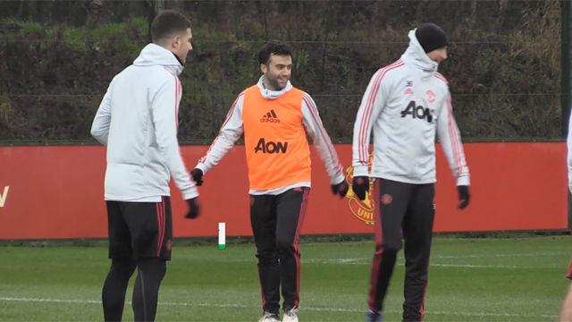 Giuseppe Rossi se entrena con el Manchester United