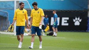 Javi López, junto a su inseperable amigo Víctor Sánchez tras un entrenamiento.