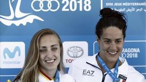 Lidón Muñoz, a la izquierda de la imagen, durante los juegos de Tarragona 2018