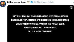 El mensaje del Barça contra el racismo