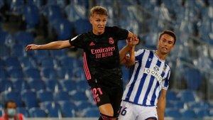 Odegaard fue la novedad del Madrid ante su ex equipo, la Real Sociedad