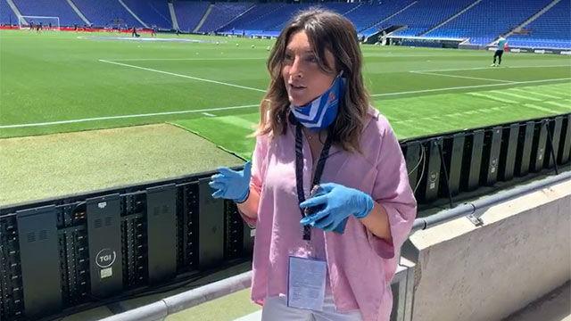 Así fue el protocolo para la entrada de periodistas en el RCDE Stadium