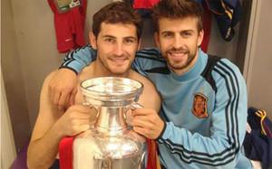 Casillas y Piqué compartieron buenos momentos en la selección española