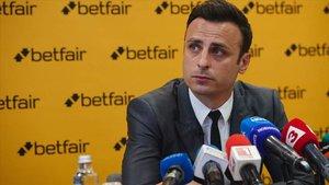 Dimitar Berbatov en rueda de prensa