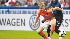 Frenkie De Jong en el partido entre Francia y Holanda del parón de selecciones de septiembre