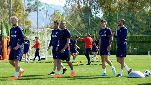Intenta sesión preparatoria del Sevilla para la final de la Copa del Rey