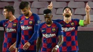 Leo Messi celebra el segundo gol del Barça