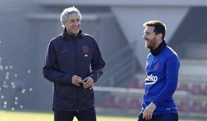 Messi y Quique Setién, la ilusión vuelve a los entrenamientos del Barça (EN)