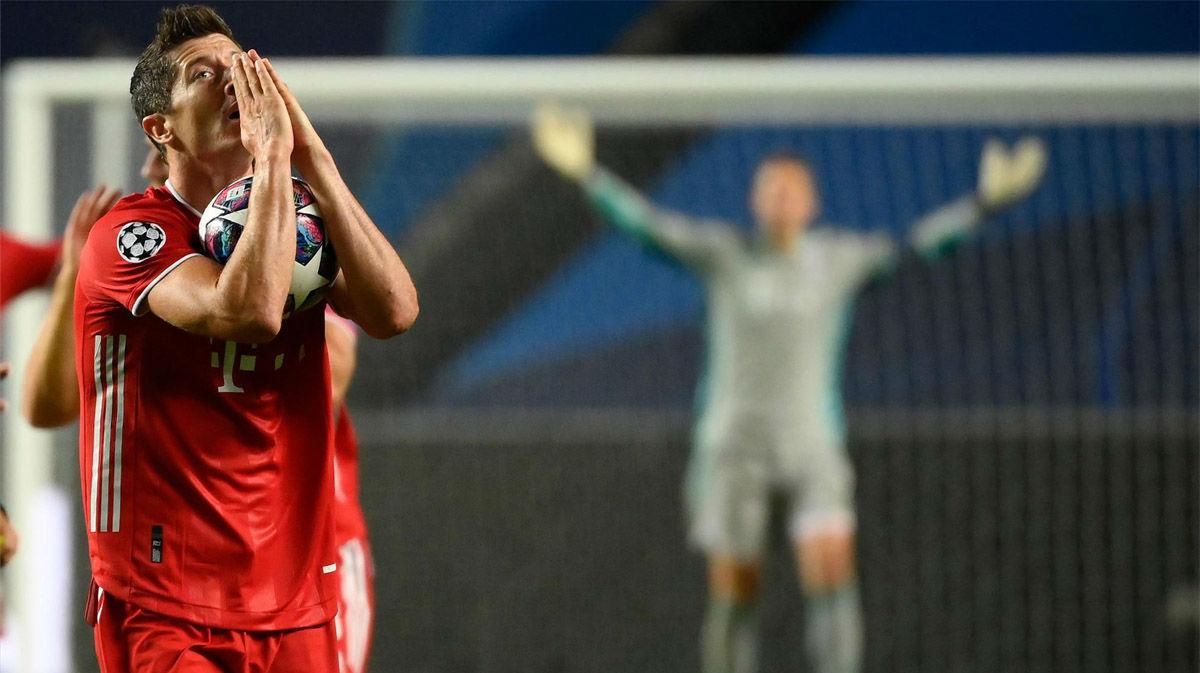 El pichichi de la Champions se quedó sin gol: el palo de Lewandowski