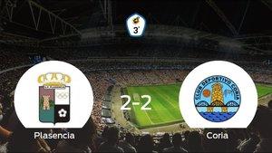 El Plasencia y el Coria empatan en el Municipal Ciudad Deportiva de Plasencia (2-2)