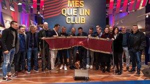 El presidente del FC Barcelona y los entrenadores y capitanes de los equipos profesionales han inaugurado la Barça Store de Canaletes