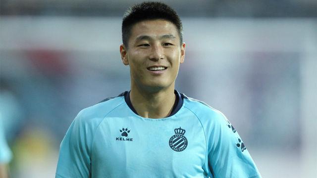 Primer cumpleaños de Wu Lei con la camiseta del Espanyol