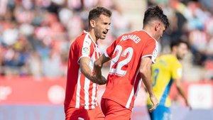 Stuani y Jozabed, en el duelo contra Las Palmas
