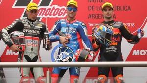 Vierge, Pasini y Oliveira en el podio de Moto2