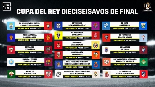 Dónde ver y a qué hora todos los partidos de la Copa del Rey