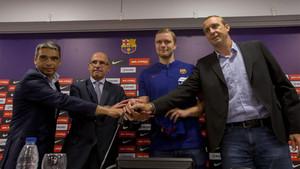 Aron Palmarsson, en su presentación como jugador del Barça Lassa