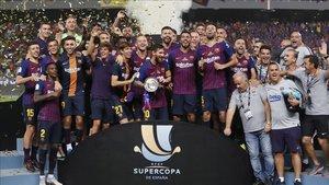 El FC Barcelona levantó la última Supercopa de España