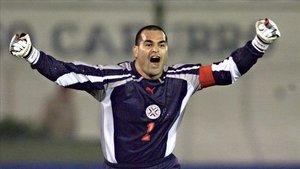 Chilavert con la camiseta de la selección de Paraguay