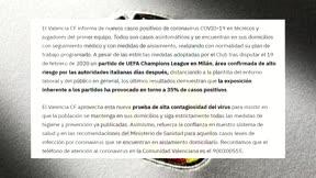 Comunicado del Valencia CF sobre nuevos casos de coronavirus