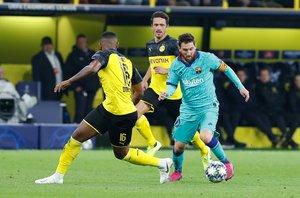 Leo Messi durante el partido entre el Borussia Dortmund y el FC Barcelona correspondiente a la jornada 1 del Grupo F de la Liga de Campeones y disputado en el Signal Iduna Park en Dortmund.
