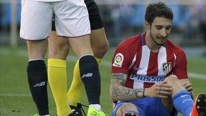 Momento en el que Vrsaljko se lesionó ante el Sevilla
