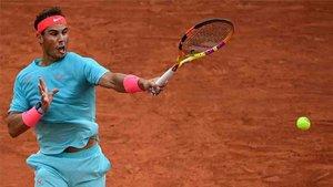 Nadal en su estreno en Roland Garros.