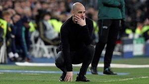 Pep Guardiola, técnico del Manchester City, en el Santiago Bernabéu