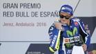 Rossi celebra su victoria en Jerez el pasado año